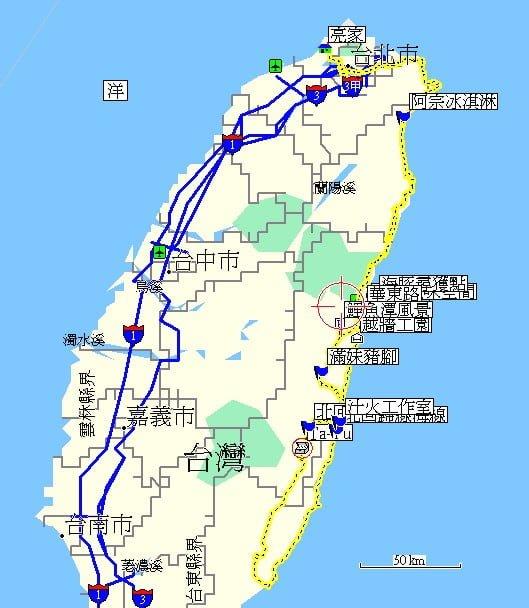 花東三日遊的總行程地圖。