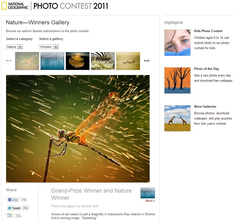The Index of National Geography Photo Contest 2011