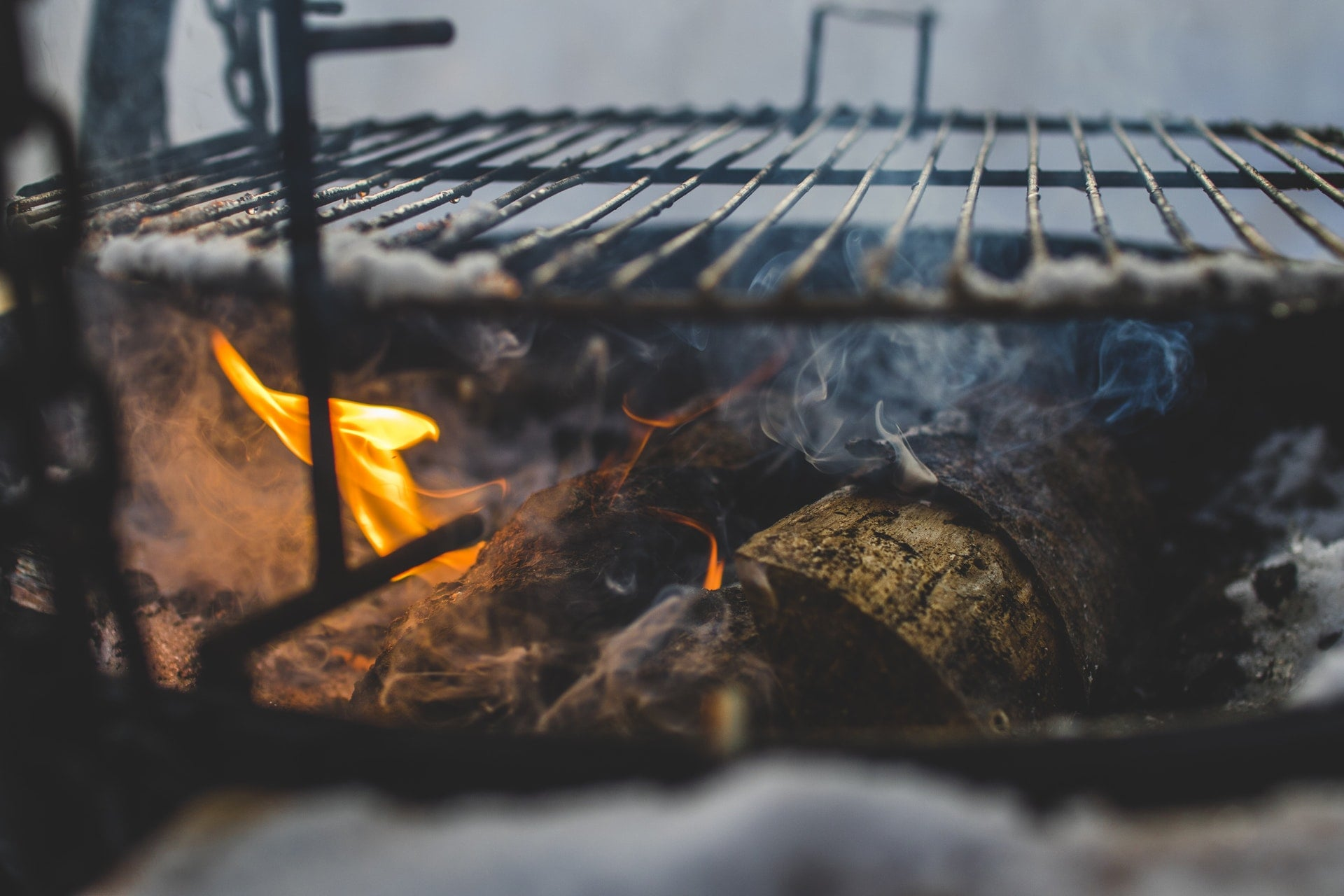 firewood below grill fire charcoal dry 1
