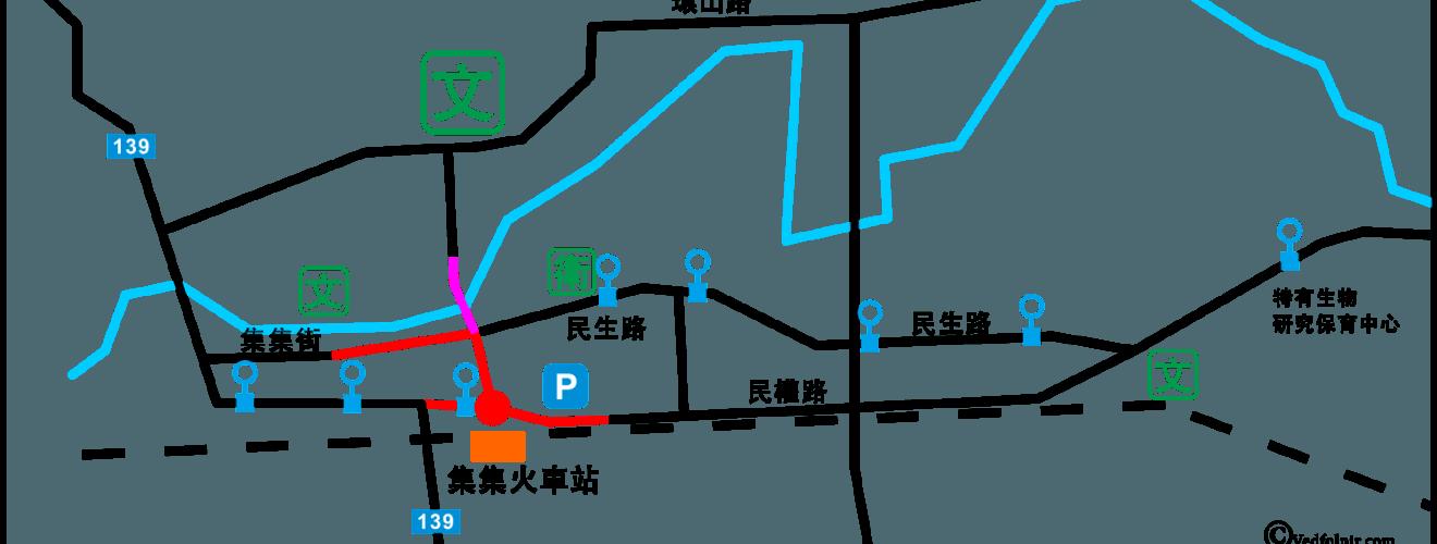 南投集集鎮簡易交通地圖與公車路線