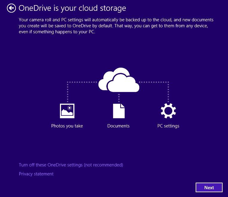 詢問是否要利用 OneDrive 進行雲端儲存服務。