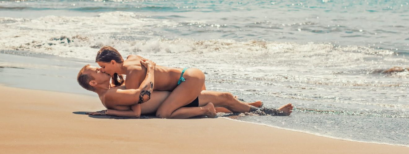 beach bikini couple fun