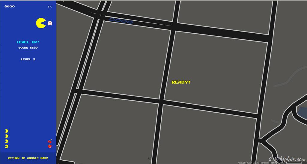 Google Maps PAC MAN Ready Go Google 愚人節來襲!史上最強小精靈 PAC-MAN 超大迷宮地圖