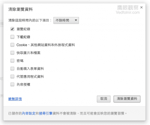 Google_Chrome_設定_隱私權_清除瀏覽資料_瀏覽紀錄