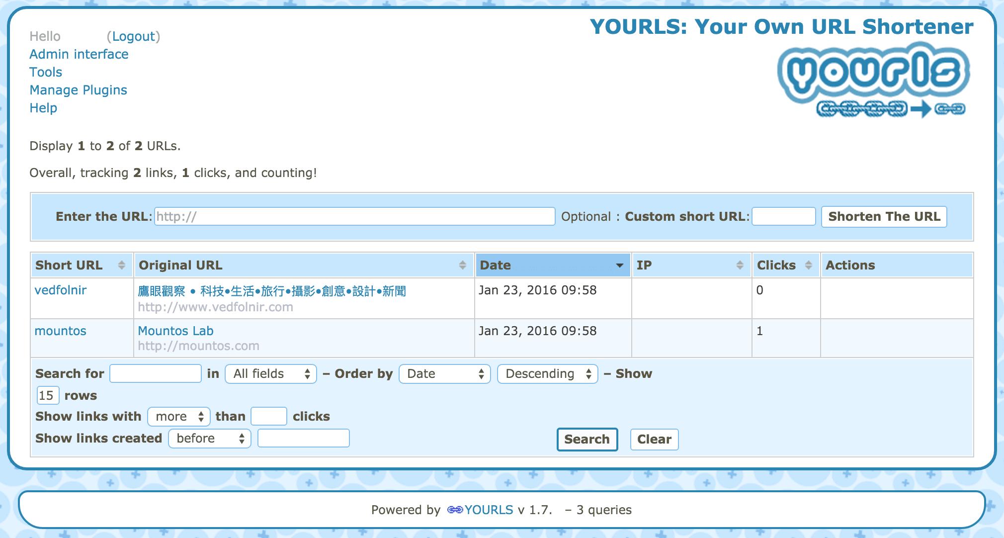 Yourls 縮址服務管理介面。