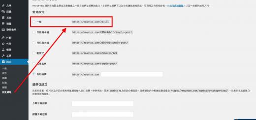 WordPress 控制台:固定網址設定。