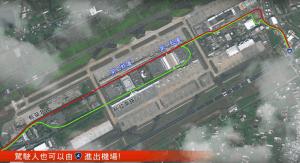 桃園機場出入動線調整衛星地圖。