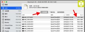 儲存空間管理介面下的文件清單。