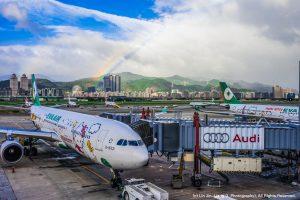 EverGreen Airline Hello Kitty Rainbow Taipei Songshan Airport 長榮航空 彩虹 松山機場 長榮航空/提供因復興航空停航而滯留海外乘客購買優惠機票