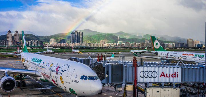 EverGreen Airline Hello Kitty Rainbow Taipei Songshan Airport 長榮航空 彩虹 松山機場 長榮航空:印尼阿貢火山噴發影響之航班退票、改票票務作業通知