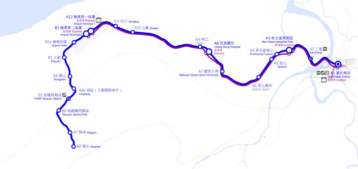 Taoyuan International Airport Access MRT System Map in operation 桃園機場捷運/預辦登機服務時間與(寄艙)托運行李規定