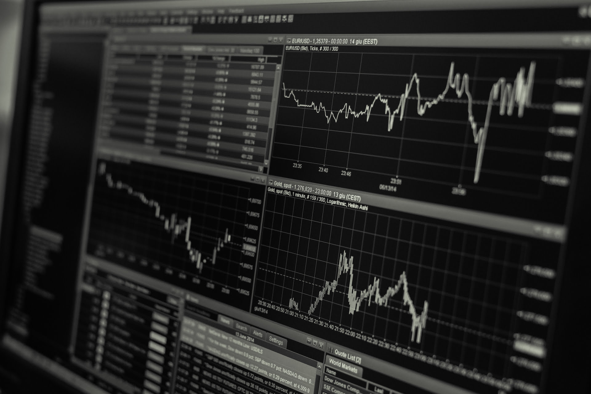 Stock trading monitor (black and white)