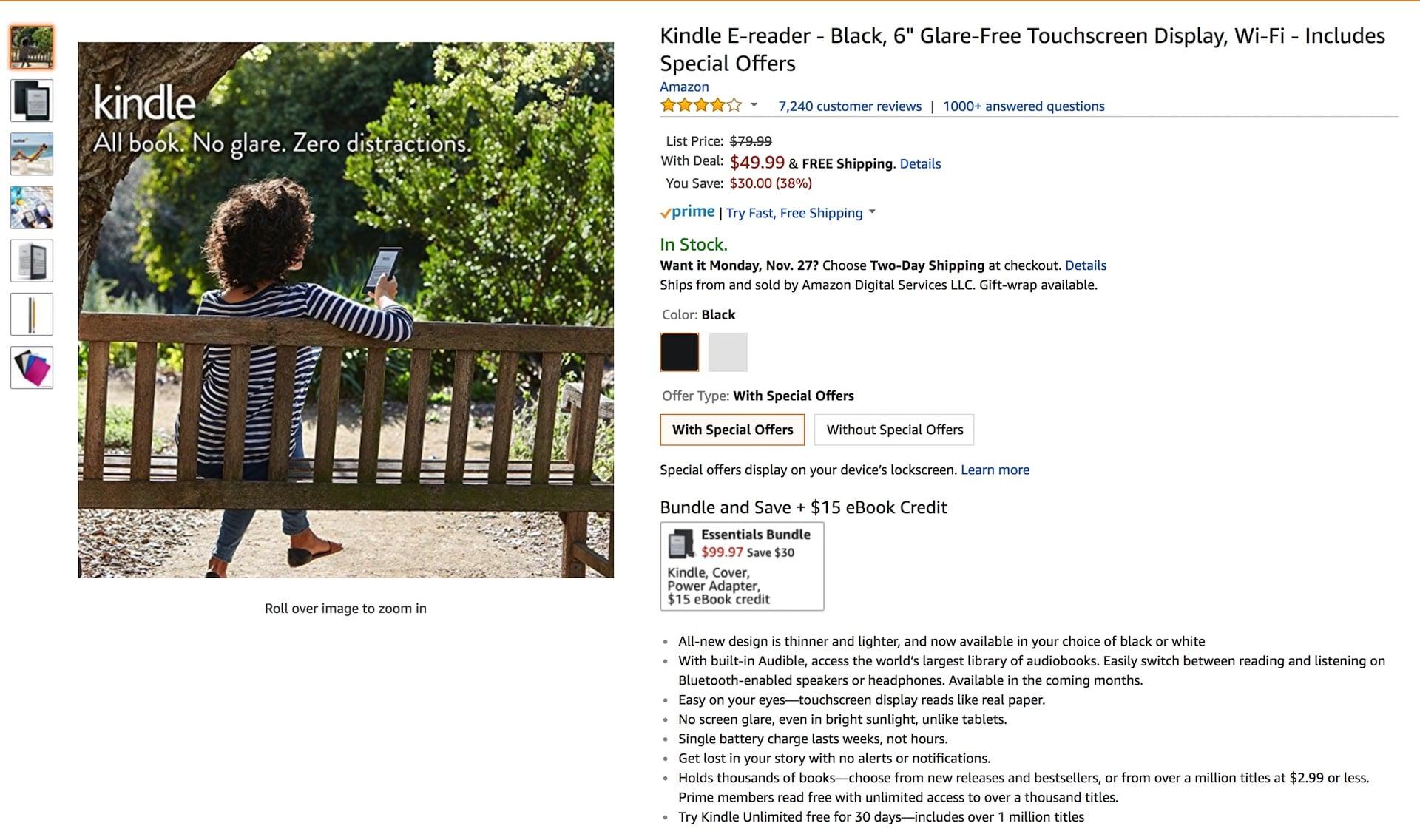 Amazon Kindle Black Friday Promotion