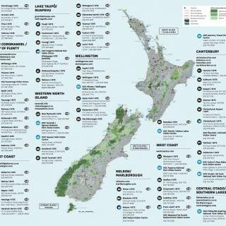 紐西蘭旅客服務中心(i Site)分佈地圖。