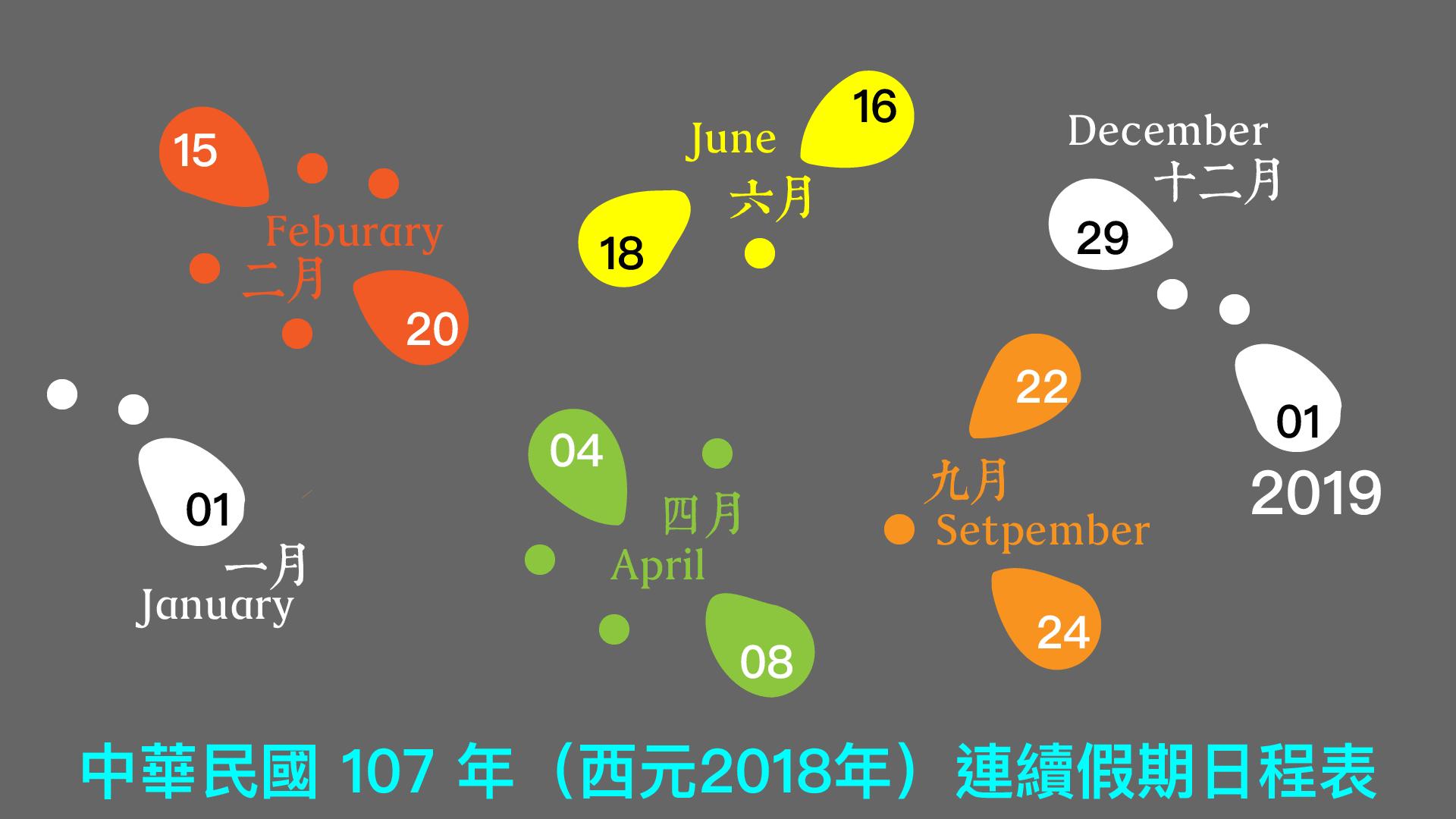 2018 continuous holidays of Taiwan Penghu Kinmen Matsu ROC 民國107年(2018)台澎金馬連續假期行事曆(農曆春節、清明、端午與中秋連續假日)
