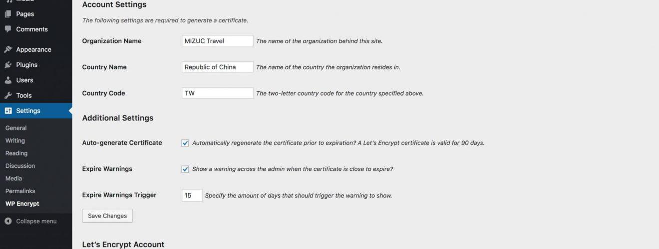 WordPress 教學:SSL 安全憑證產生器外掛程式「WP Encrypt」 WordPress WP Encrypt SSL Generate Certificate Plugin