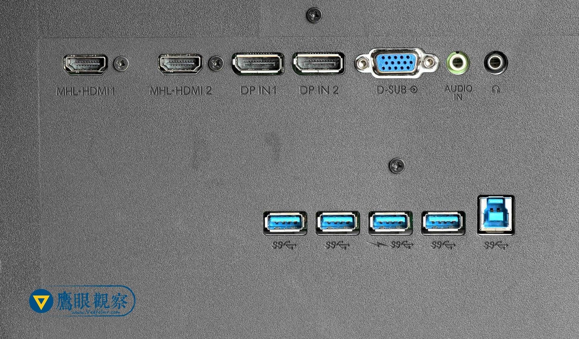 電腦螢幕選購要注意的事:LCD背面的USB擴充孔 usb port extender behind lcd monitor Philips 43 BDM4350UC