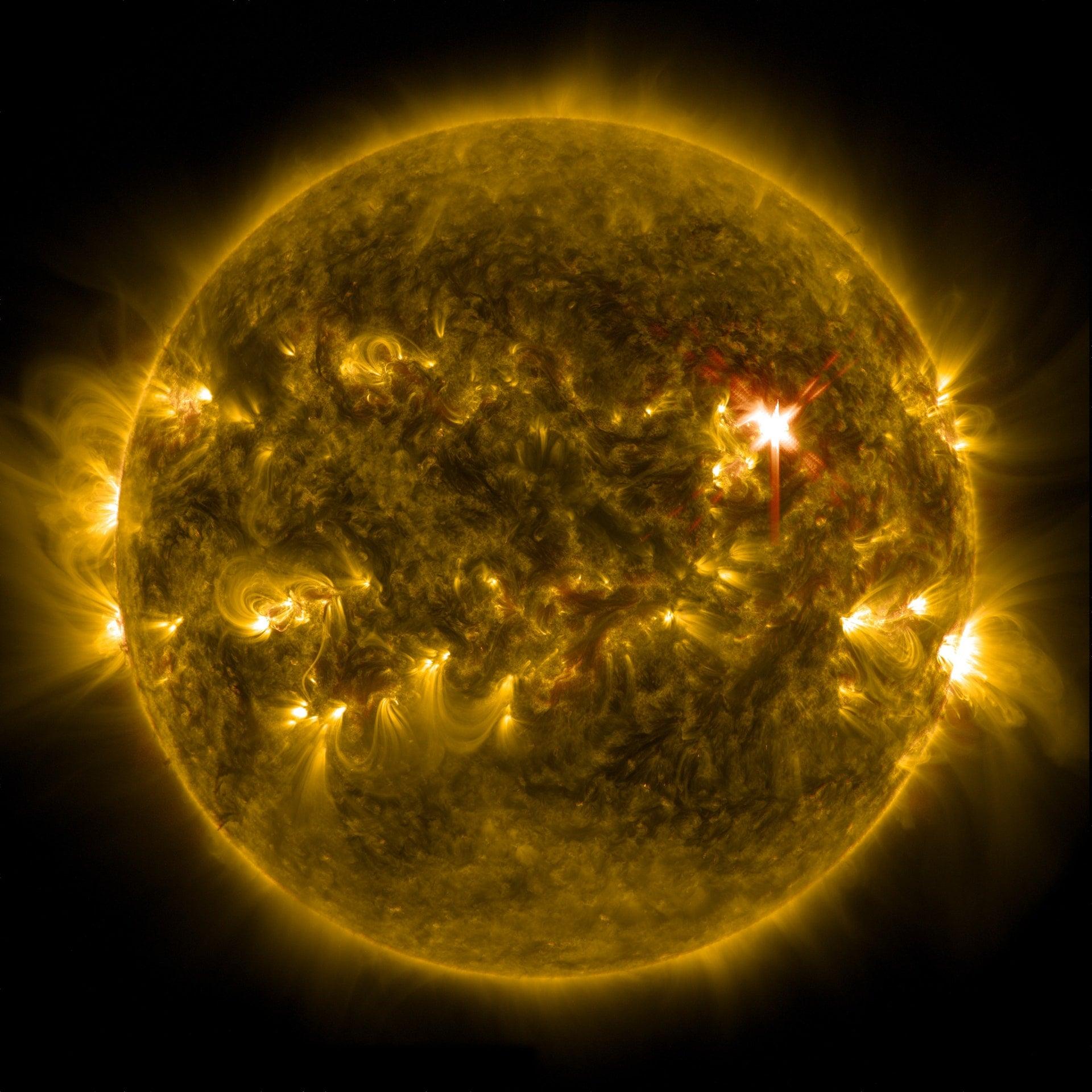 solar flare sun eruption energy yellow Space universe planet 1
