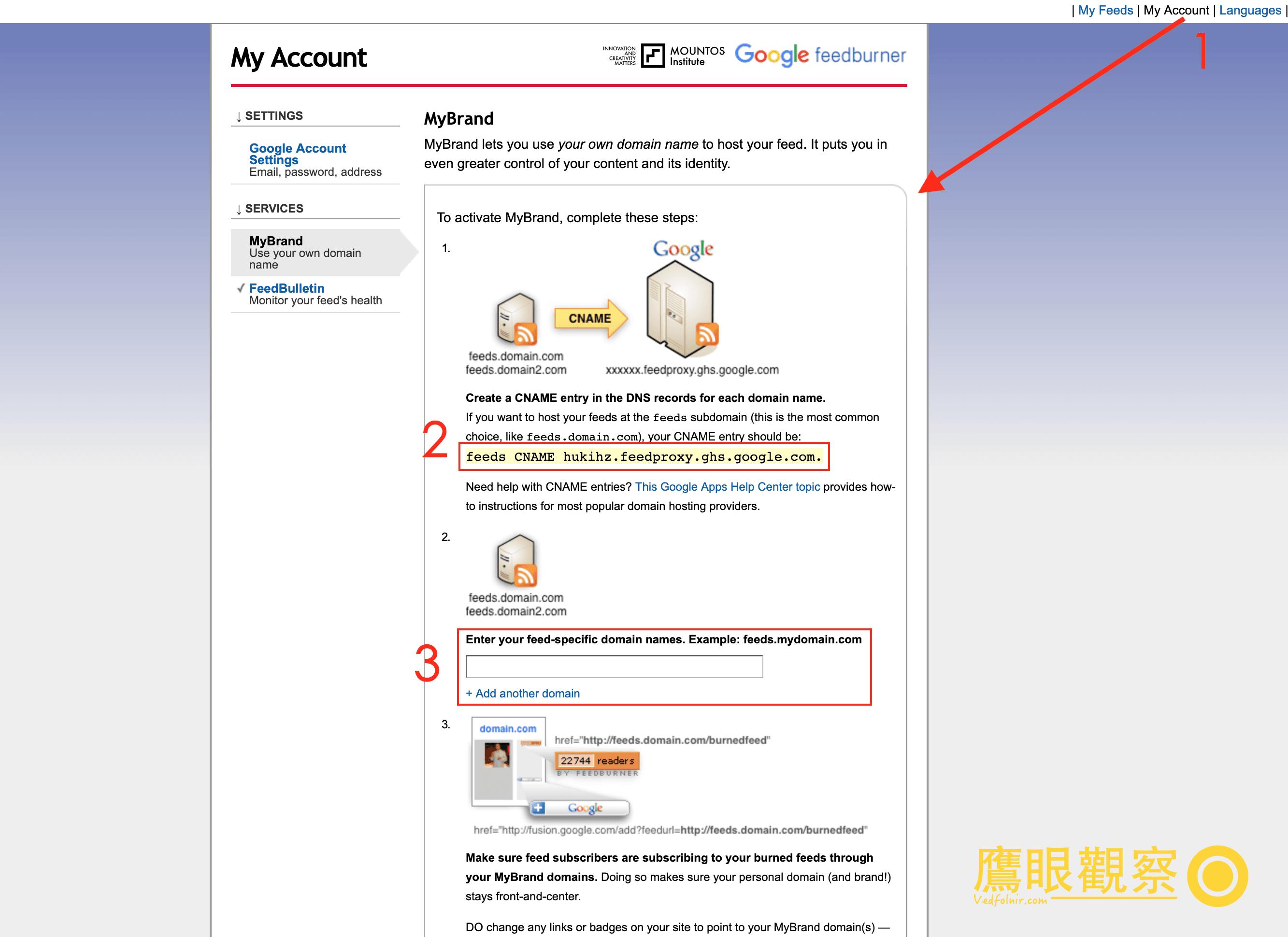 Google FeedBurner MyBrand customize Domain URL
