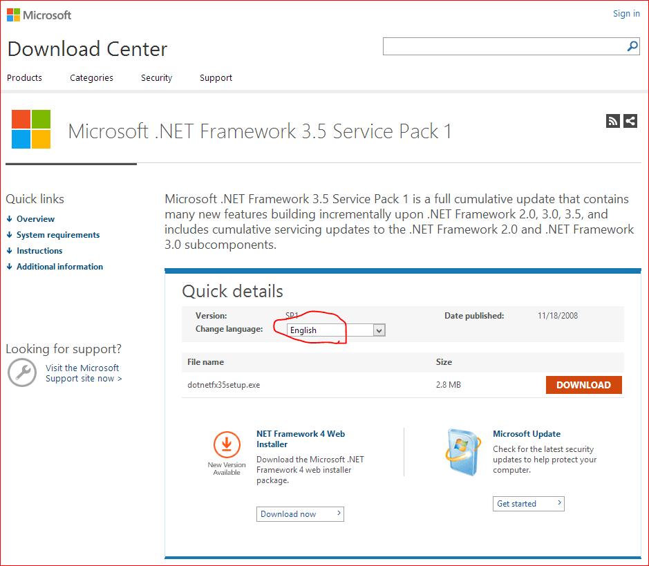 圖一,Microsoft .NET Framework 3.5 Service Pack 1 官網。