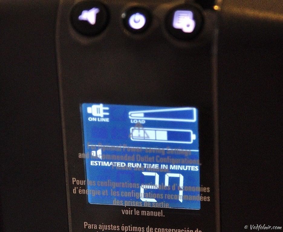 再按一次顯示切換按鈕,顯示目前負載耗電量下的電池可供電時間。