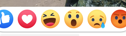 Facebook emoji emotion like love ha wow cry angry 臉書 6 種表情符號:讚、大心、哈、哇、嗚、怒