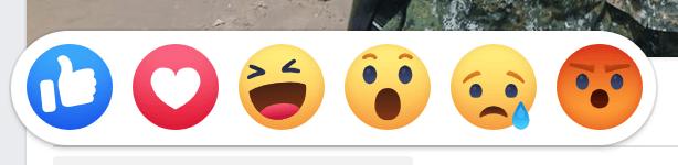Facebook emoji emotion like love ha wow cry angry 臉書 6 種表情符號:讚、大心、哈、哇、嗚、怒