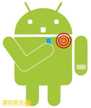 肩膀酸痛的 Android 機器人 (Design Jinliang Lin)