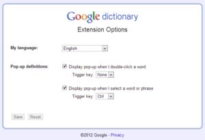 Google Dictionary Extension Options Google Chrome 瀏覽器免費英漢、英英字典「Google Dictionary」推薦