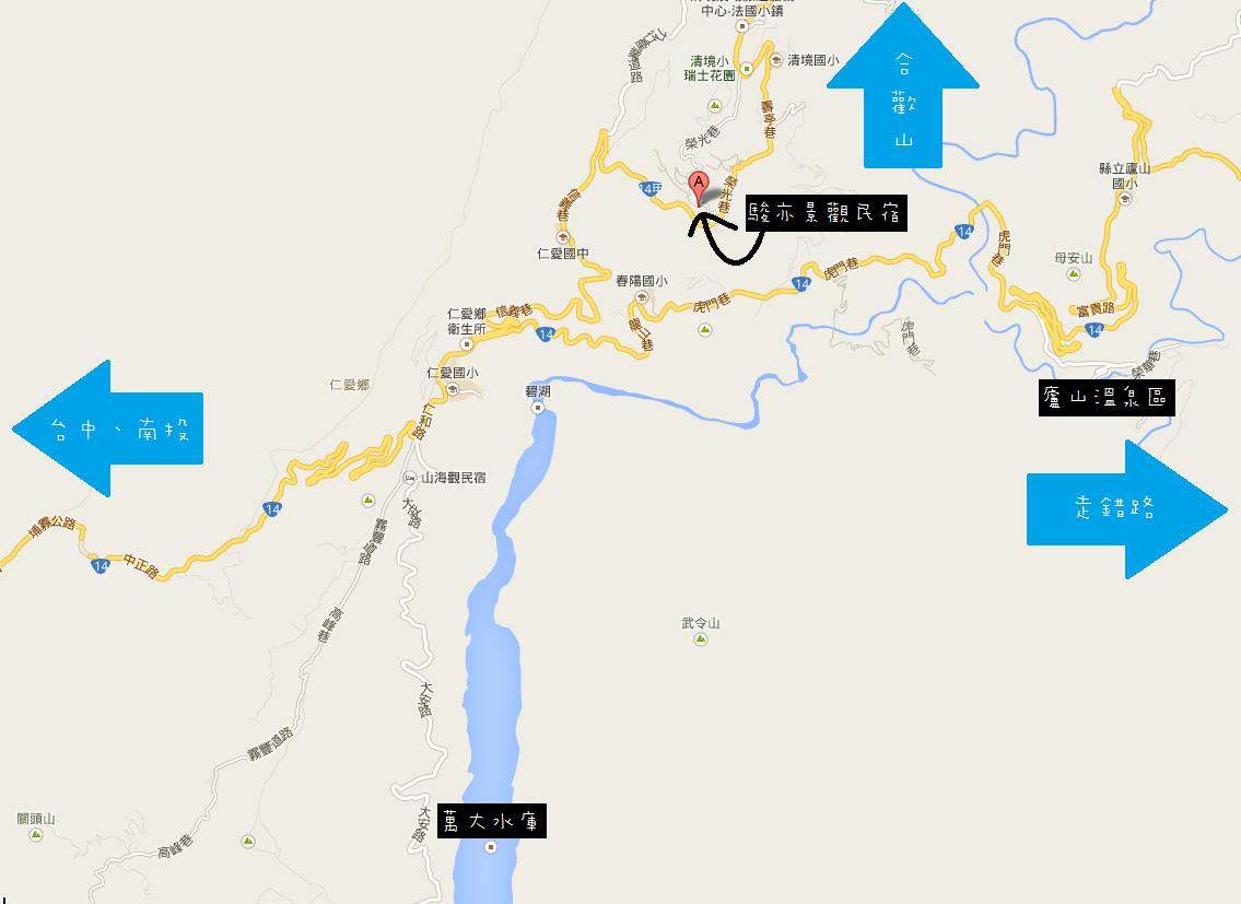 Geo Map of Junyi View Homestay Villa Cingjing Nantou Taiwan Republic of China 南投清境「駿亦景觀民宿」住宿推薦與旅遊心得介紹