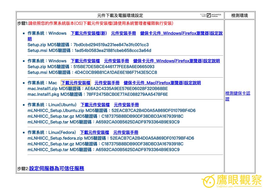 圖二,瀏覽器元件下載及電腦環境設定。