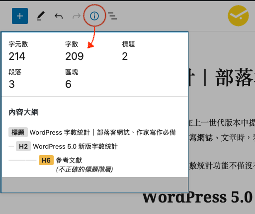 WordPress Words count tracking message WordPress 字數統計資訊查詢