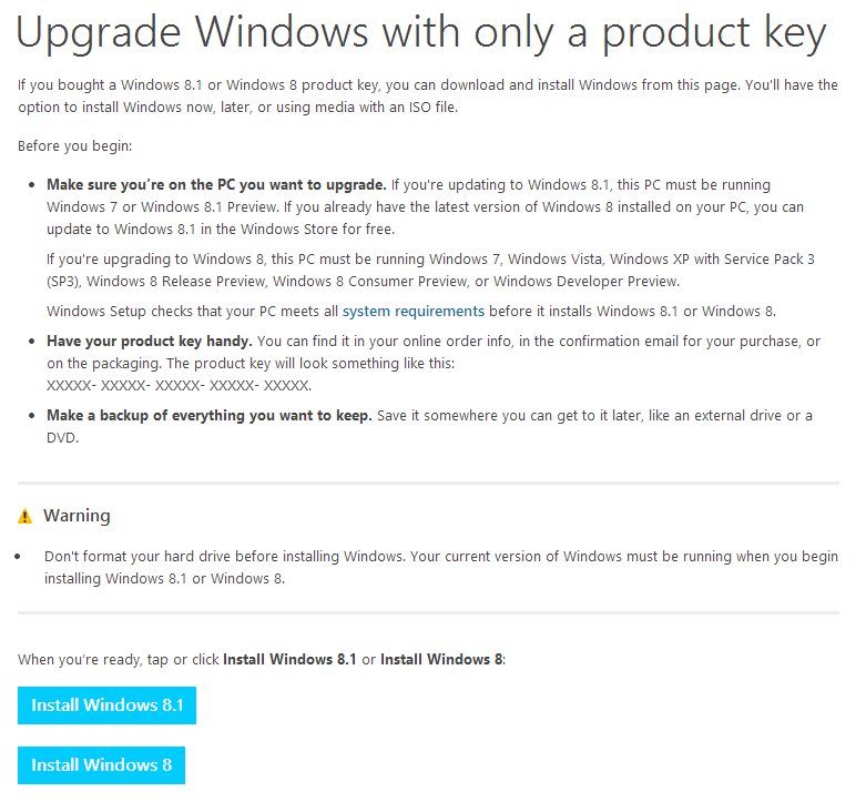 Upgrade Wundiws with only a product key 微軟 Windows 8.1 作業系統全新安裝紀錄