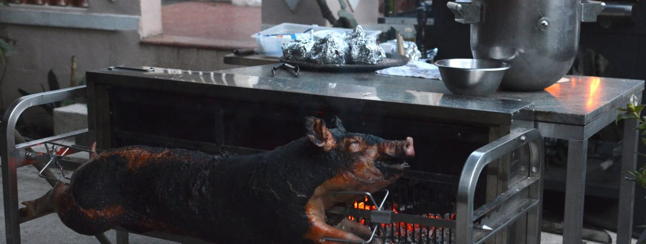 pig grilling on broach in farm yard